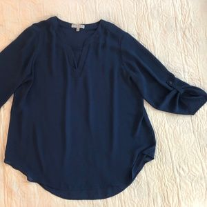 navy blue Chaus new york roll tab sleeve flowy top